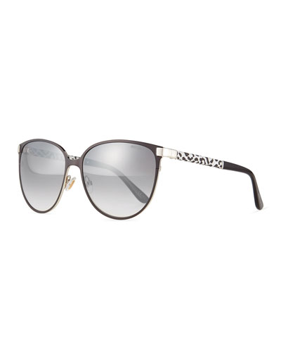 Posie Leopard-Print Metal Cat-Eye Sunglasses