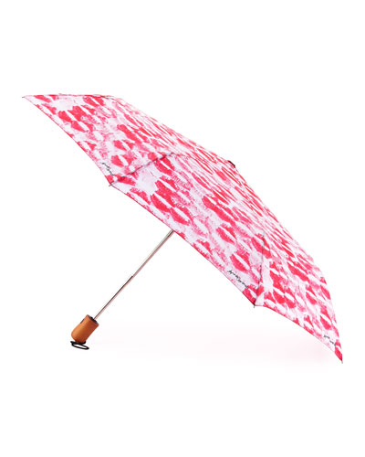 Kiss-Print Umbrella, Pink/White