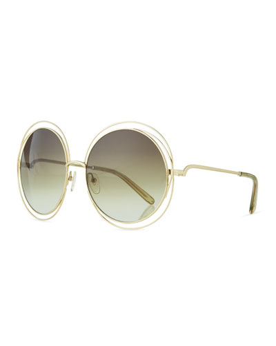 Carlina Metal Oversize Sunglasses, Golden/Green