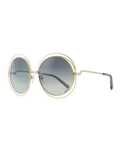 Carlina Metal Oversize Sunglasses, Golden/Gray