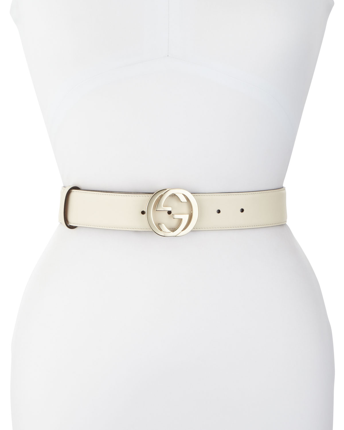 Wide Logo-Clasp Leather Belt, White