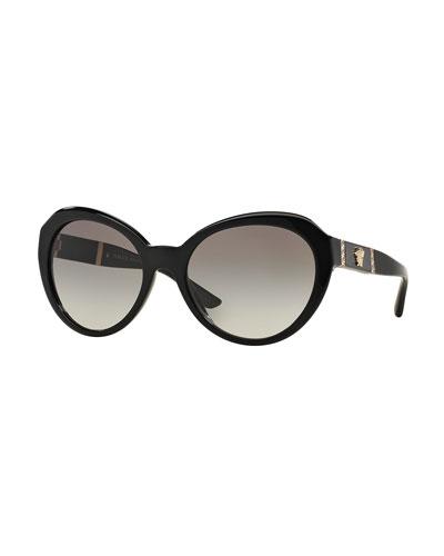 Round Gradient Cat-Eye Sunglasses, Black