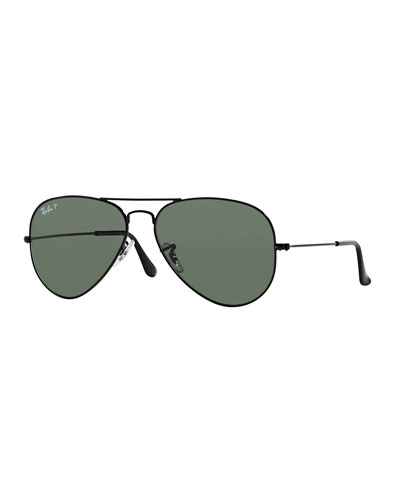 Metal Polarized Aviator Sunglasses, Black