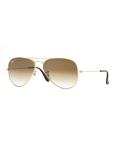 Metal Aviator Sunglasses, Gold/Light Brown