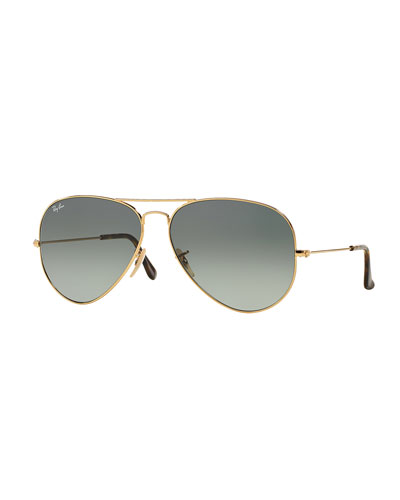 Metal Aviator Sunglasses, Gold/Gray