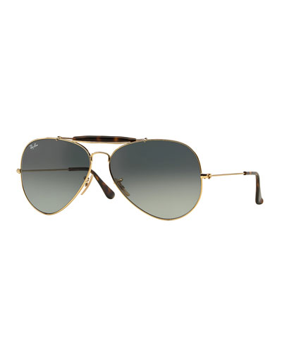 Gradient Metal Aviator Sunglasses, Gold/Gray