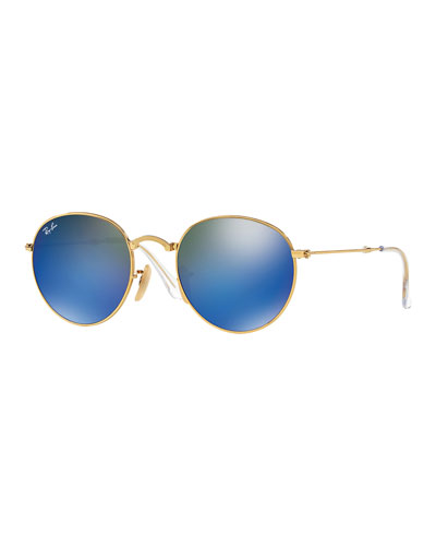 Etched Round Mirrored Sunglasses