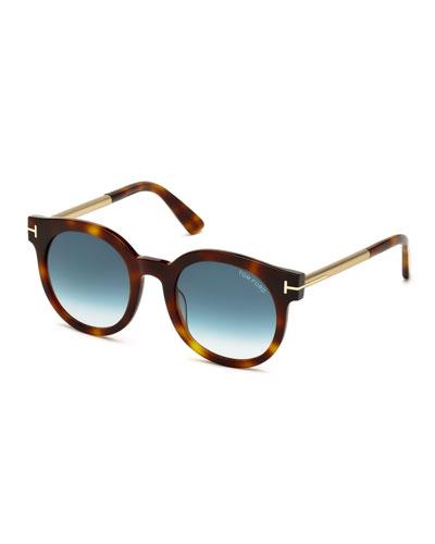 Janina Peaked Sunglasses, Havana