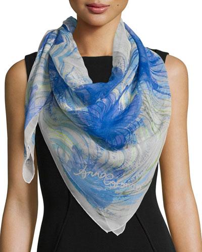 Classic Silk Hibiscus Square Scarf, Blue