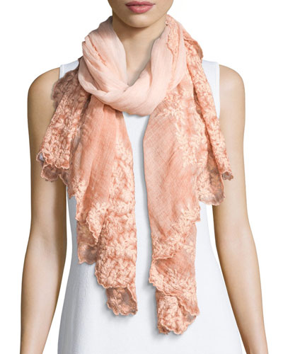 Teti Embroidered Scalloped Scarf, Peach