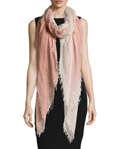 Monique Ombre Metallic Square Scarf, Peach