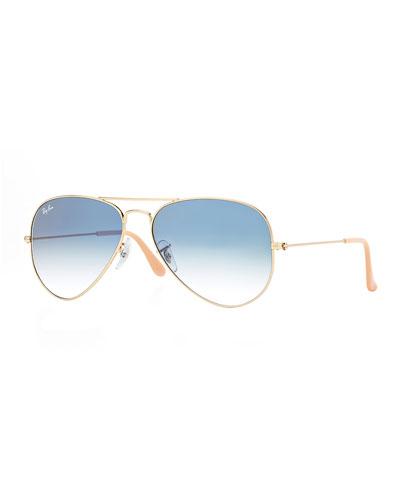 Gradient Aviator Sunglasses, Golden/Blue