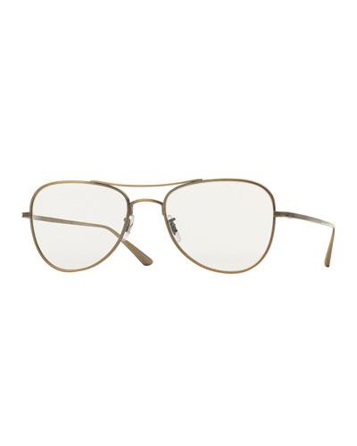 Executive Suite Photochromic Aviator Sunglasses, Gold/Clear
