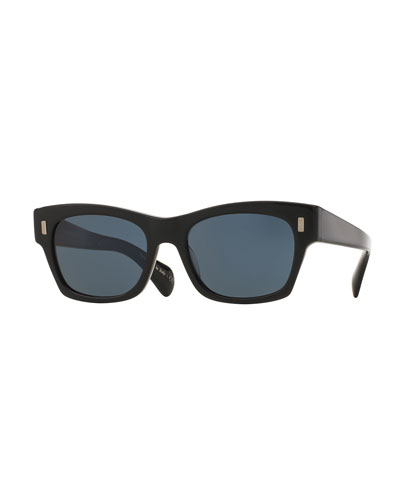 71st Street Square Sunglasses, Black/Blue