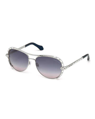 Studded Metal Aviators, Silver