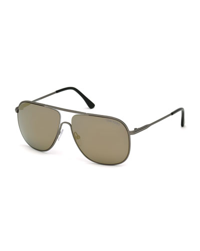 Dominic Aviator Sunglasses, Gunmetal