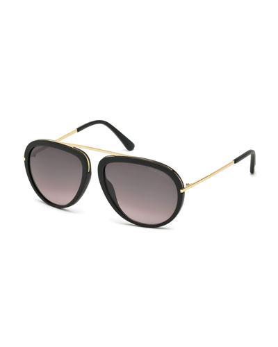 Stacey Aviator Sunglasses, Black/Rose Gold
