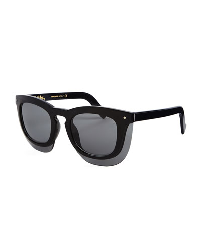 Inbox Oversize Square Sunglasses, Black/Gray