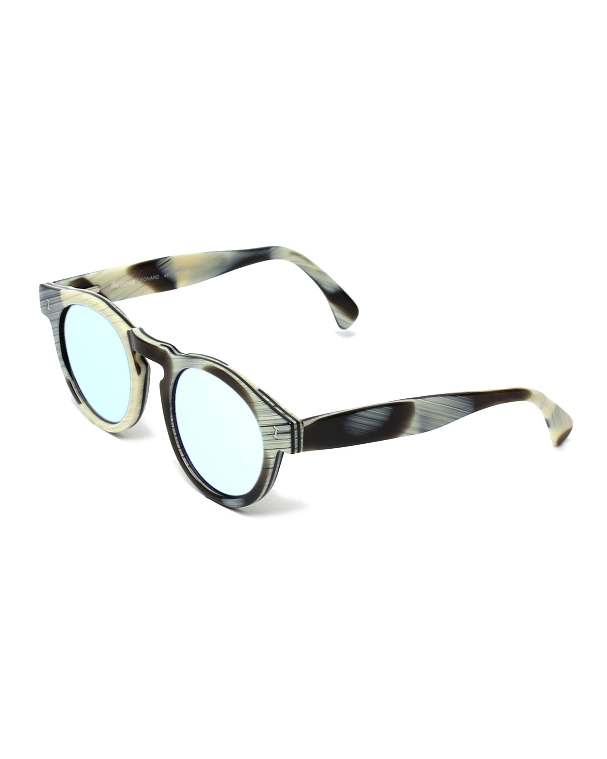 Leonard Round Mirrored Sunglasses, Horn/Silver