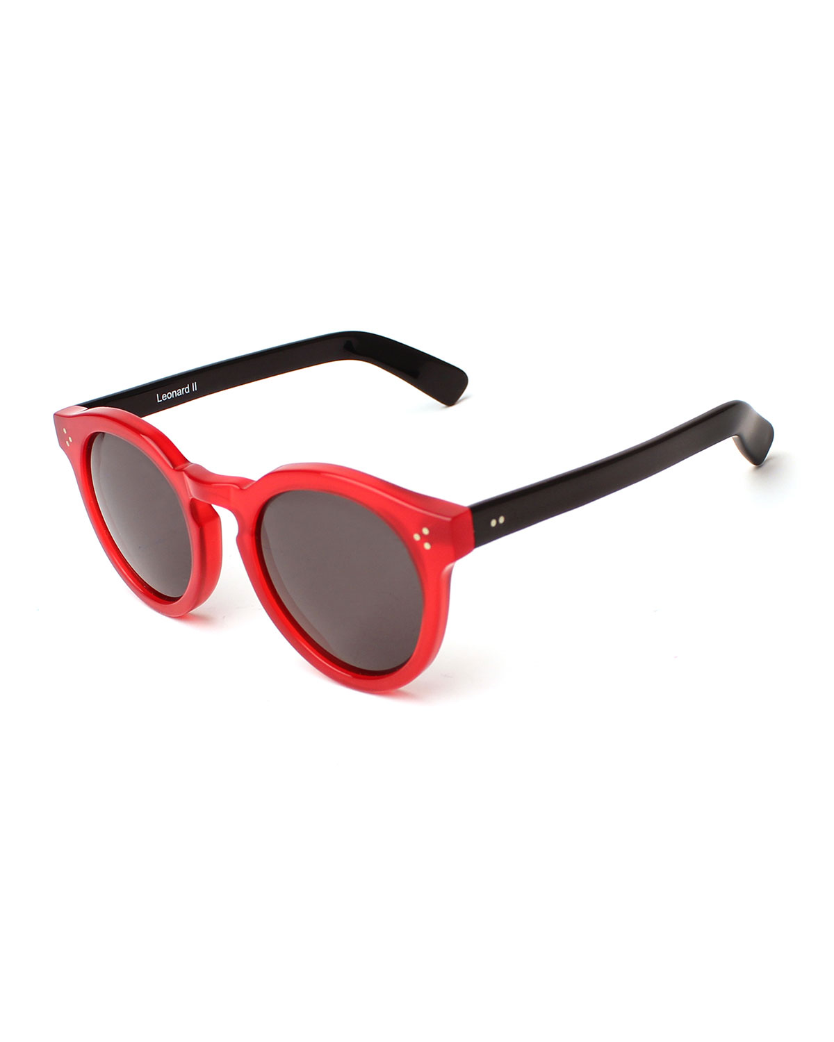 Leonard II Two-Tone Sunglasses, Red/Black