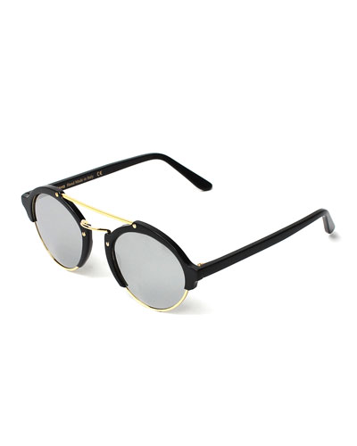 Milan II Round Mirrored Sunglasses, Black/Silver