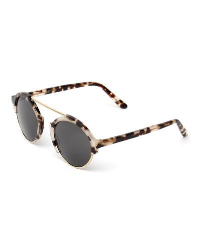Milan III Round Sunglasses, White Tortoise