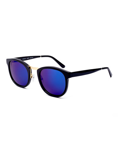 Crossroad Mirrored Square Sunglasses, Black