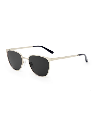 Money Square Stainless Steel Sunglasses, Silver