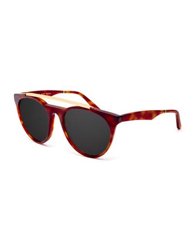 Sugarman Rounded Square Sunglasses, Havana/Gold