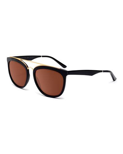 Volunteers Square Metal-Bridge Sunglasses, Black/Gold
