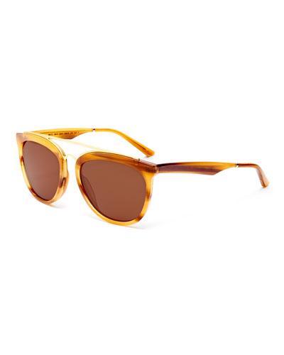 Volunteers Square Metal-Bridge Sunglasses, Tortoise/Gold