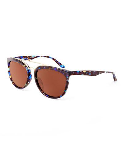 Volunteers Square Metal-Bridge Sunglasses, Blue/Silver