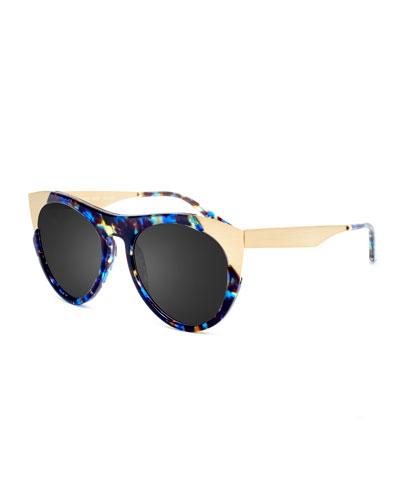 Zoubisou Cat-Eye Sunglasses, Blue/Gold