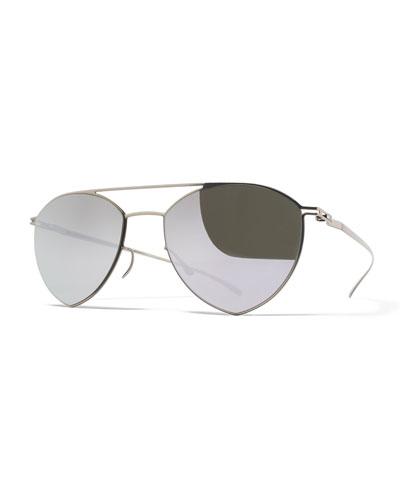 Essential Angular Aviator Sunglasses, Silver