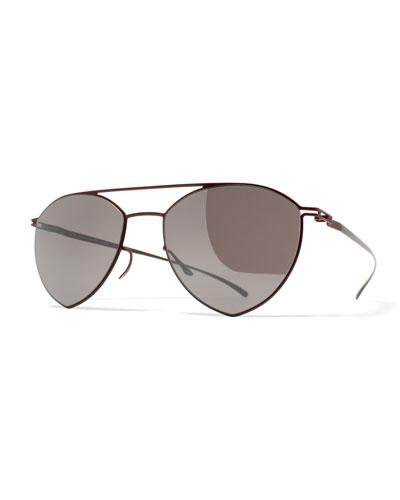Essential Angular Aviator Sunglasses, Red/Purple