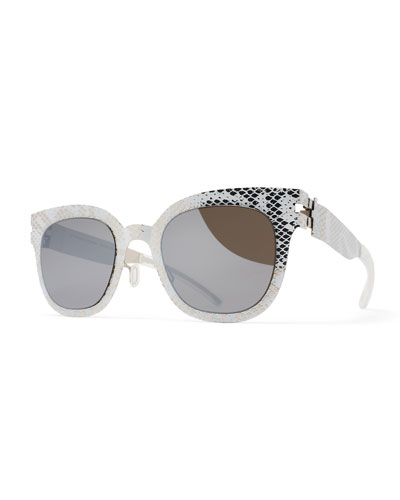 Transfer Square Embossed Sunglasses, Silver/White