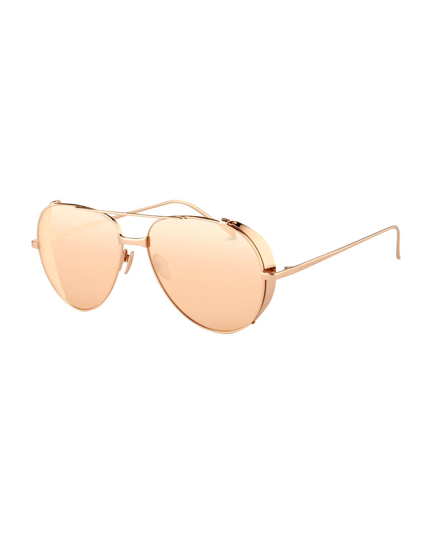 Titanium Aviator Sunglasses, Rose Gold
