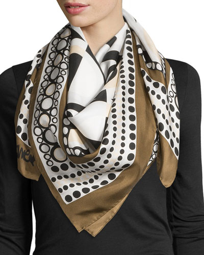 Silk Square Illusion-Print Scarf, Brown
