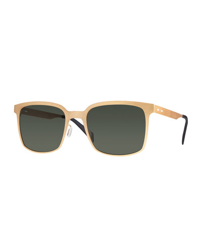 I-Metal Monochromatic Cat-Eye Sunglasses, Gold