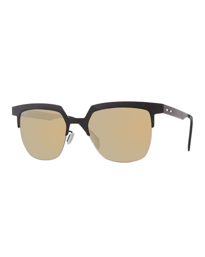 I-Metal Leather-Style Cat-Eye Sunglasses, Black