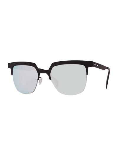 I-Metal Mirrored Cat-Eye Sunglasses, Black