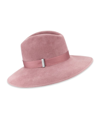 Requiem Handmade Wool Wide-Brim Fedora Hat, Dusty Rose