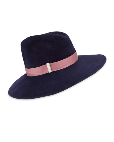 Drake Wool Wide-Brim Fedora Hat, Navy