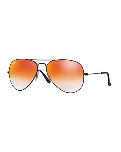 Ombre-Mirrored Aviator Sunglasses, Black/Red