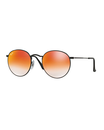 Round Ombre-Mirrored Sunglasses, Black/Red