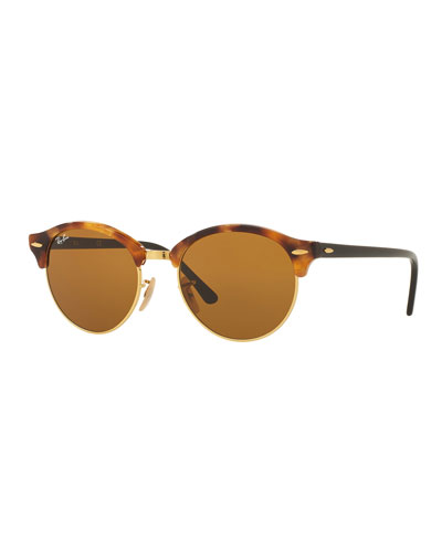 Round Monochromatic Clubmaster® Sunglasses, Havana/Brown