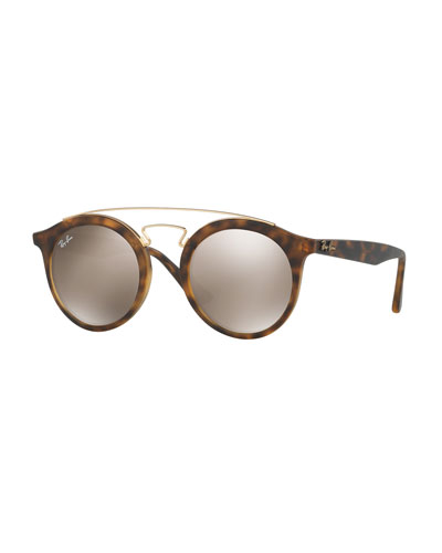 Round Mirrored Brow-Bar Sunglasses, Brown/Gold