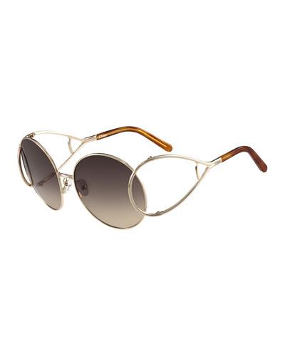 Jackson Oversized Round Metal Sunglasses, Havana/Gold