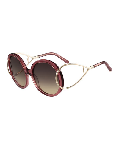 Jackson Round Oversized Sunglasses, Rose