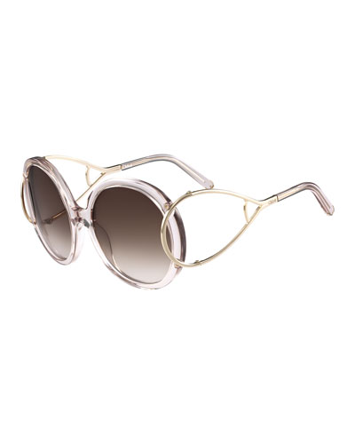 Jackson Round Oversized Sunglasses, Crystal